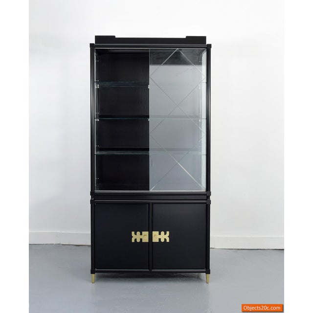 Gold Tommi Parzinger Custom Display Cabinet For Sale - Image 8 of 9