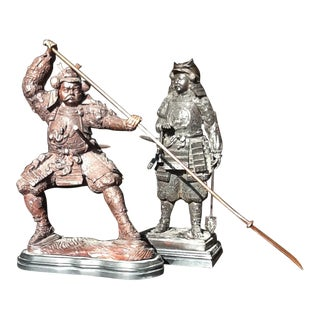 18th Century Shogun Samurai Armored Oriental Warriors - a Pair For Sale