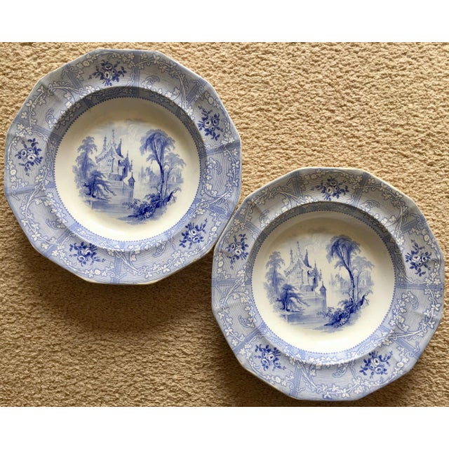 Antique English Staffordshire Chinoiserie Soup Bowls-Davenport For Sale - Image 10 of 10