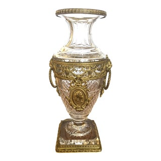 French Cut Crystal and Ormolu Mounted Vase For Sale