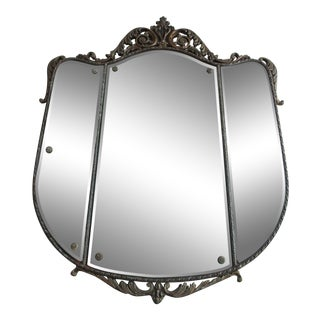 Antique Louis XV Crest Shaped Giltwood Wall Mirror For Sale