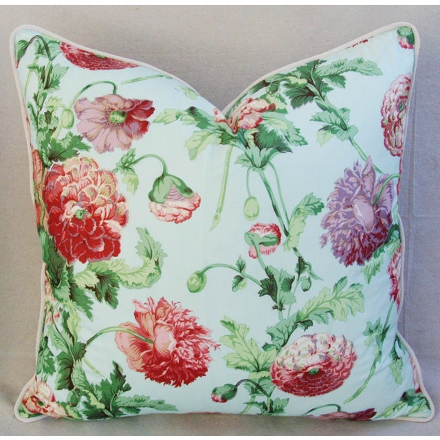 """Designer Brunschwig & Fils Poppies Feather/Down Pillows 22"""" Square - Pair For Sale In Los Angeles - Image 6 of 10"""