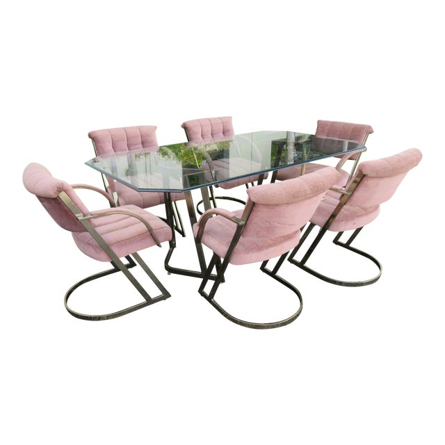 Hollywood Regency Glass Top Dining Table With 6 Chairs by Cal Style For Sale