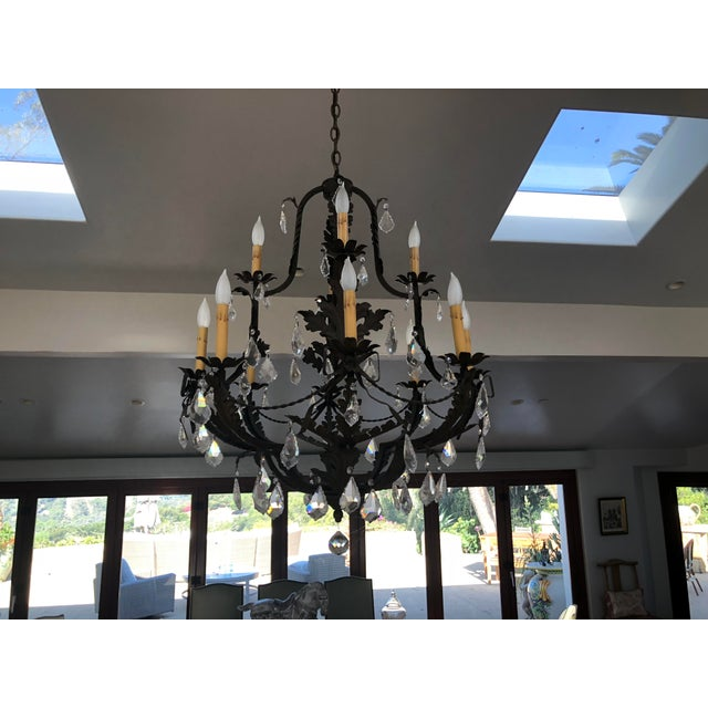 Rustic Black Iron and Crystal 12 Arm Chandelier For Sale In Los Angeles - Image 6 of 6