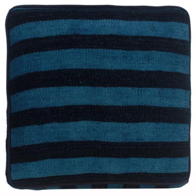 1990s Boho Chic Arshs Donnetta Black/Blue Kilim Upholstered Handmade Ottoman For Sale - Image 5 of 8