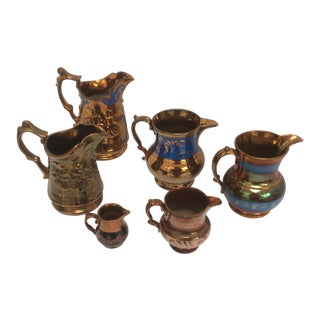 Antique Copper Luster Pitchers - Set of 6