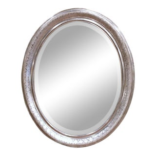 19th Century French Louis Philippe Oval Silver Leaf Mirror With Engraved X Decor For Sale