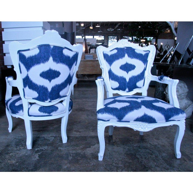 Italian Italian White Lacquered Armchairs For Sale - Image 3 of 9