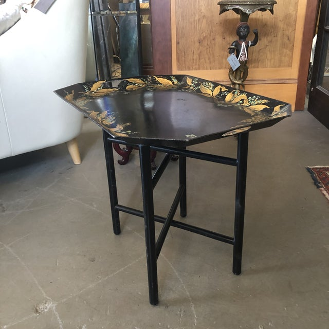 Metal 1960s Tole Butler Tray and Stand Flora Fauna Butterfly Motif For Sale - Image 7 of 13