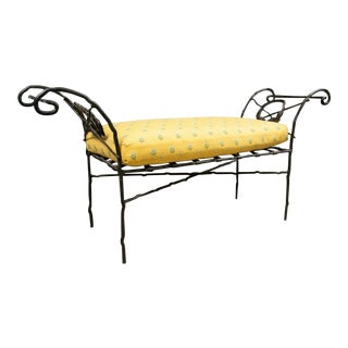 Late 20th Century Wrought Iron Cushioned Bench With Laurel Wreath Motif For Sale