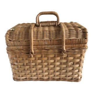 Boho Wood Picnic Basket Case For Sale
