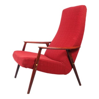 Bruno Mathsson Duxello Red Upholstered Armchair For Sale