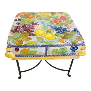 Italian Ceramic Garden Seat With Iron Base For Sale