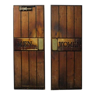 "Vintage ""Men and Women"" Wooden Ship Doors - A Pair"