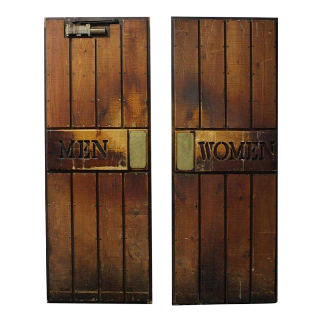 """Vintage """"Men and Women"""" Wooden Ship Doors - A Pair For Sale"""