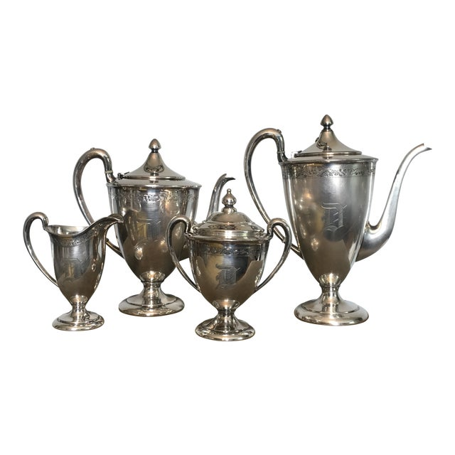 "1910s American Classical Wilcox Monogram ""D"" Silver Plate Tea and Coffee Service - 4 Pieces For Sale"