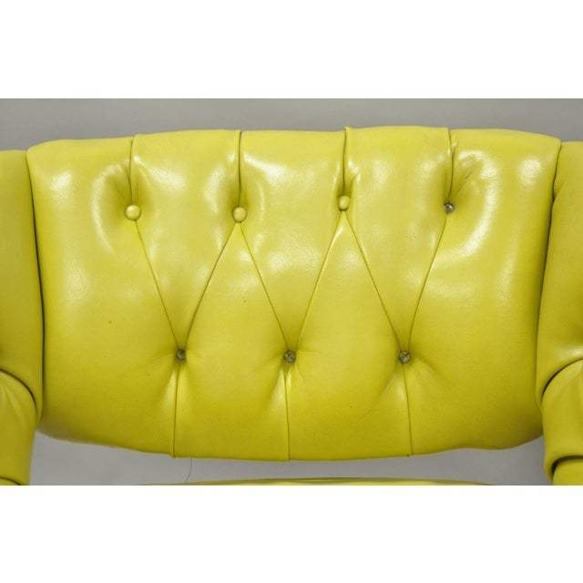 Pair Silver Craft Green Yellow Swivel Club Lounge Chairs Mid Century Modern A For Sale In Philadelphia - Image 6 of 12
