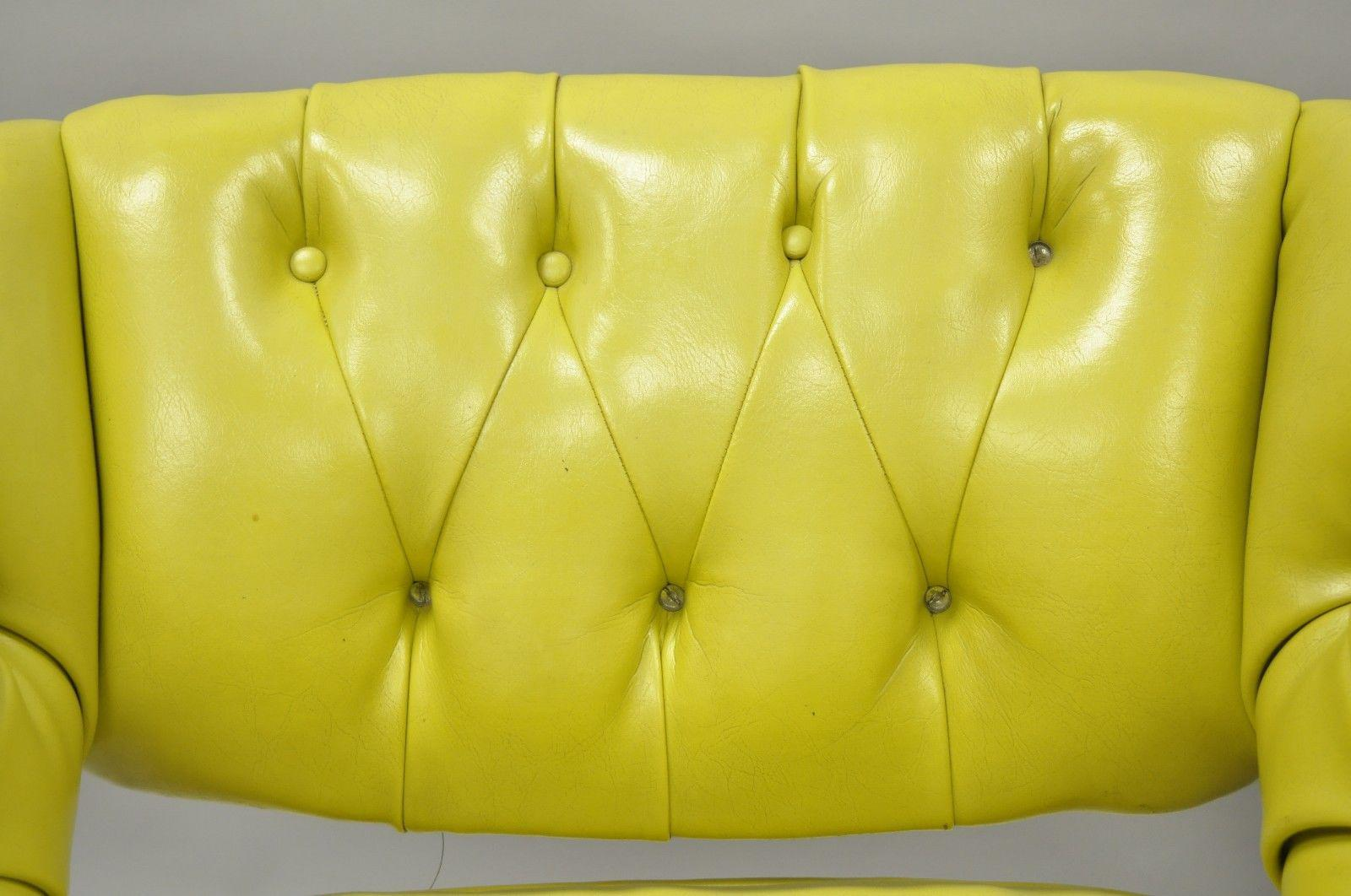 Pair Silver Craft Green Yellow Swivel Club Lounge Chairs Mid Century Modern  A For Sale In