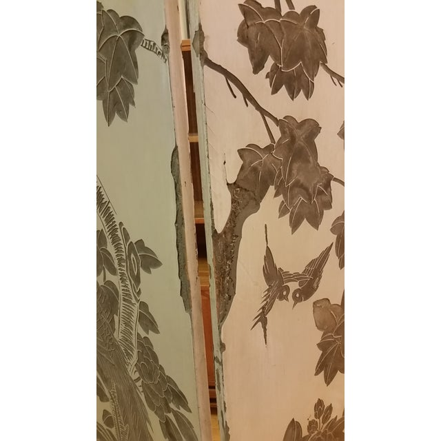 Gesso 1920s Antique Chinese Gesso Screen Room Divider For Sale - Image 7 of 13