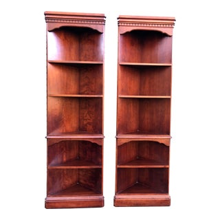 Tall Cherry Corner Bookshelves- a Pair For Sale