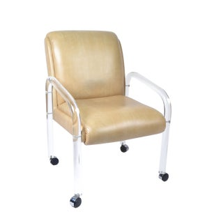 1970s Mid-Century Modern Leon Frost Lucite and Vinyl Armchair