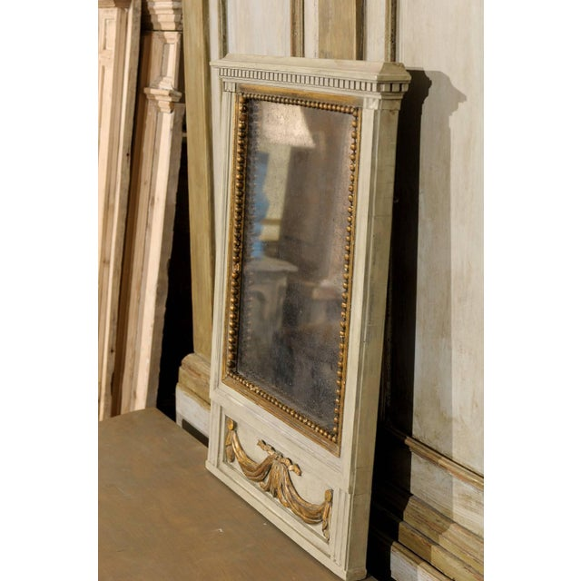 Mid 19th Century French Mirror in Small Size With Antiqued Glass and Gold Swag Motif on Beige For Sale - Image 5 of 7