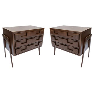 Large Custom Mid-Century Modern Style Nightstands - a Pair For Sale