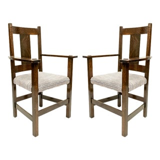 American Mission Oak Dining Arm Chairs For Sale
