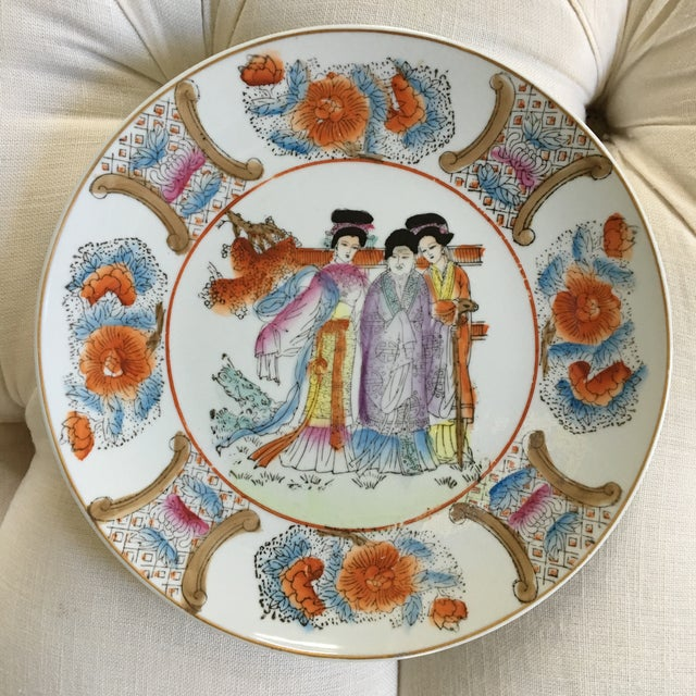 """Decorative Chinoiserie Gold Rimmed """"Three Ladies"""" Plate For Sale - Image 9 of 10"""