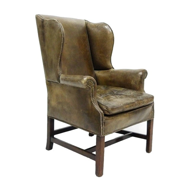 Distressed Leather 19th C. Wingback Chair - Image 1 of 10