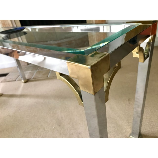Mid Century Chrome and Glass Console / Sofa Table - Image 9 of 11