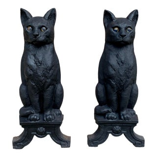 Pair of 1920's Cast Iron Cat Andirons & Log Holders For Sale