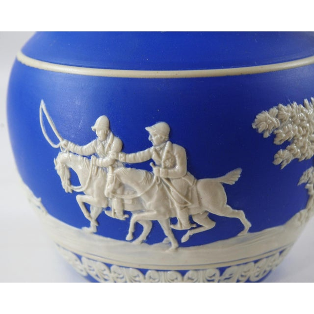 1900s Antique Spode Hunting Scene in Royal Blue Jasperware Pitcher For Sale In Minneapolis - Image 6 of 12