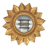 Image of Mid-Century French Convex Gold Giltwood Sunburst Mirror For Sale