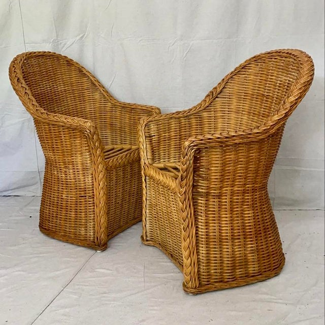 Vintage Woven Wicker Chairs With Braided Trim - a Pair For Sale - Image 13 of 13