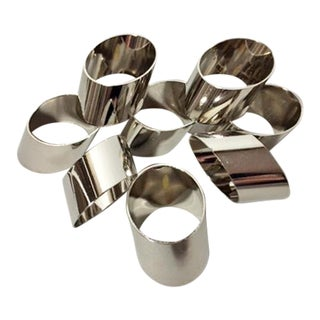 Vintage Angle Cut Silver Plated Napkin Rings - Set of 8