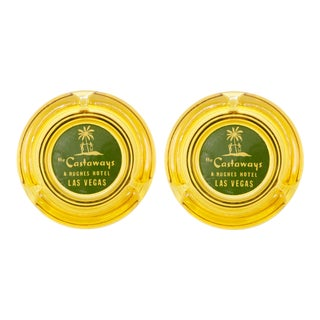 The Castaways Hotel Yellow Glass Ashtrays - a Pair For Sale