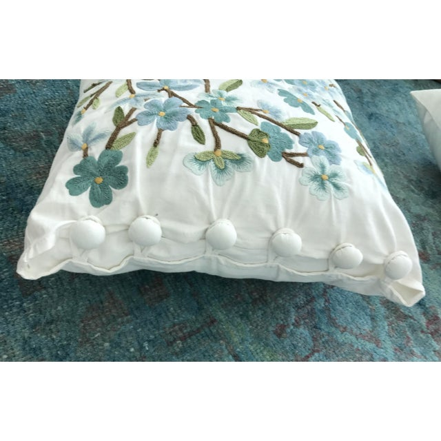 Set of 5 Floral Embroidered Throw Pillows - Image 4 of 5