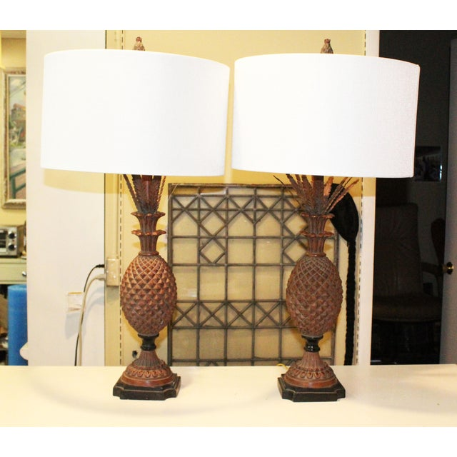 Bronze Pineapple Lamps - a Pair For Sale - Image 7 of 7