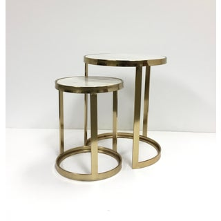 Modern White Marble and Gold Plated Round Nesting Table Set of Two Preview
