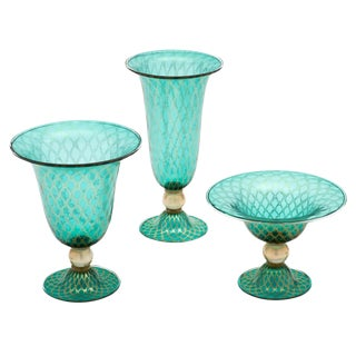 Set of Three Green and Gold Murano Glass Vases For Sale