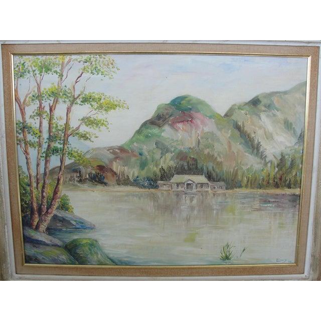 Impressionism Vintage Cabin on Lake Impressionist Oil Painting on Board For Sale - Image 3 of 9