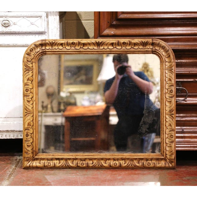 Tan 19th Century French Louis XIII Carved Bleached Oak Wall Mirror For Sale - Image 8 of 8