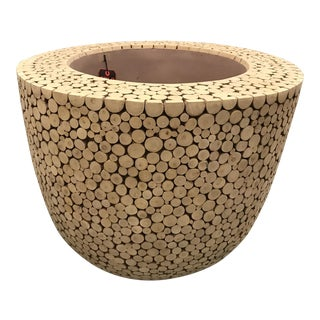 Extra-Large Contemporary Wood Pattern Indoor Tree Planter For Sale