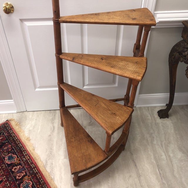 Monumental 1950's pine circular library steps with faux bamboo motif and acorn finial. Great for display of your...