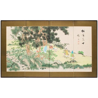 1940-1960s Chinese Four Panel Folding Screen For Sale