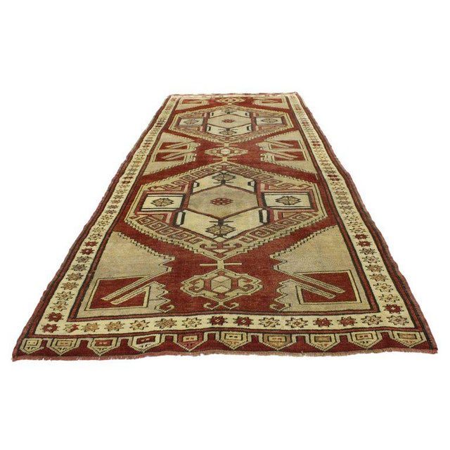 52148 Vintage Turkish Oushak Runner with Modern Tribal Style, Hallway Runner. This hand-knotted wool vintage Turkish...