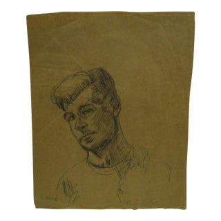 "Original ""Self Portrait"" Drawing Signed by Frederick McDuff, 1959"