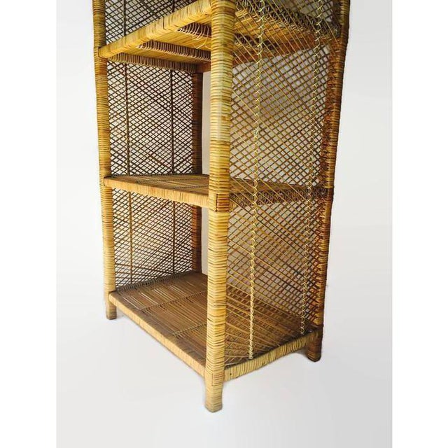1970s Vintage Rattan Etagere Arched Bookcases - A Pair For Sale - Image 9 of 12