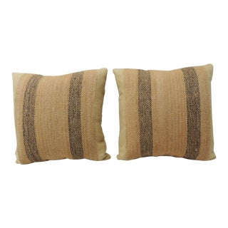 Tan and Brown Weave Textured Finish Decorative Pillows For Sale